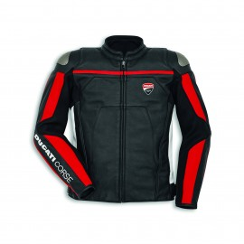 Leather jacket Ducati Corse C4 48 Man Black-White Standard
