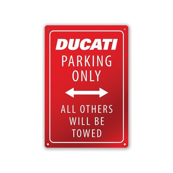 Metal plate Ducati Ducati Parking 20x30 cm  white-red